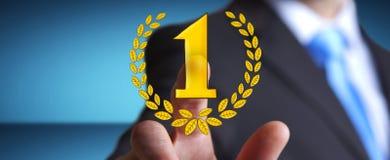 Icone disegnate a mano commoventi del trofeo del vincitore dell'uomo d'affari Fotografie Stock Libere da Diritti
