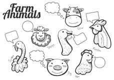 Icone disegnate a mano degli animali dell'allegra fattoria Fotografie Stock Libere da Diritti