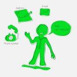 Icone disegnate a mano dei contatti illustrazione vettoriale