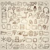 Icone disegnate a mano del computer messe Fotografie Stock
