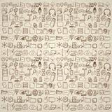 Icone disegnate a mano del computer messe Immagini Stock