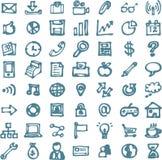 Icone disegnate a mano del highligher di scarabocchi di affari blu Fotografie Stock