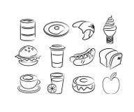 Icone disegnate a mano dell'alimento Fotografie Stock Libere da Diritti