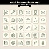 Icone disegnate a mano di affari Fotografia Stock Libera da Diritti