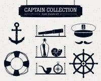 Icone disegnate a mano di capitano messe Fotografia Stock