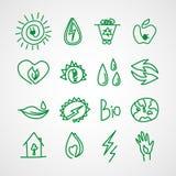 Icone disegnate a mano di ecologia Scarabocchi di vettore Immagini Stock