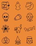 Icone disegnate a mano di Halloween Fotografia Stock