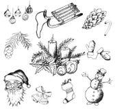 Icone disegnate a mano di Natale Immagini Stock