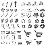 Icone disegnate a mano di scarabocchio Immagine Stock