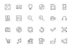 Icone disegnate a mano 3 di scarabocchio di media Immagini Stock