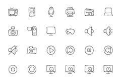 Icone disegnate a mano 1 di scarabocchio di media Immagine Stock