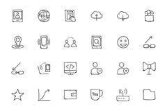 Icone disegnate a mano 6 di scarabocchio di media Fotografia Stock