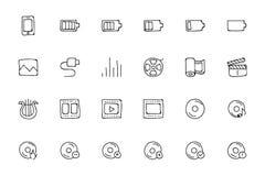 Icone disegnate a mano 2 di scarabocchio di media Fotografie Stock Libere da Diritti