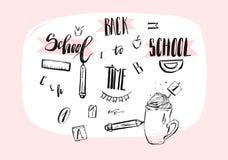 Icone disegnate a mano di scarabocchio di tema della scuola dell'estratto di vettore, citazioni scritte a mano di calligrafia, se Immagini Stock Libere da Diritti