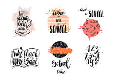 Icone disegnate a mano di scarabocchio di tema della scuola dell'estratto di vettore, citazioni scritte a mano di calligrafia, se Immagine Stock Libera da Diritti