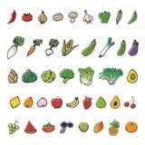 Icone disegnate a mano di schizzo di frutta e della verdura royalty illustrazione gratis