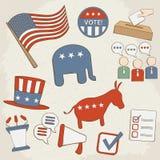 Icone disegnate a mano di vettore di elezione Fotografia Stock Libera da Diritti
