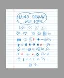 Icone disegnate a mano di web Immagine Stock Libera da Diritti