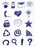 Icone disegnate a mano di Web e del Internet Fotografia Stock Libera da Diritti