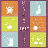 Icone disegnate a mano piane moderne sane di vita quotidiana sulla porpora Fotografia Stock