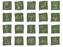 Icone disegnate a mano su verde Fotografia Stock Libera da Diritti
