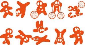 Icone divertenti dell'illustrazione di vettore degli uomini di pan di zenzero Fotografia Stock