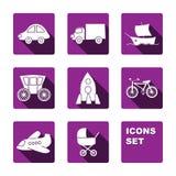 Icone divertenti di trasporto messe Immagini Stock