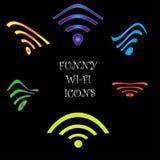 Icone divertenti di Wi-Fi Fotografie Stock Libere da Diritti