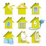 Icone domestiche della costruzione Fotografia Stock Libera da Diritti