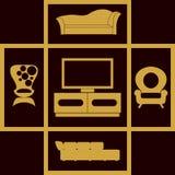 Icone domestiche della mobilia messe Alloggia l'attrezzatura Fotografia Stock Libera da Diritti