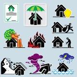 Icone domestiche di assicurazione Immagine Stock Libera da Diritti