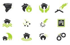 Icone domestiche di assicurazione Fotografia Stock Libera da Diritti