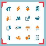 Icone domestiche di rinnovamento   in serie del blocco per grafici Fotografie Stock
