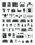 Icone domestiche di vettore della mobilia Fotografie Stock