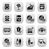 Icone domestiche elettroniche delle unità Fotografie Stock Libere da Diritti