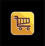 Icone dorate del negozio del carretto Immagine Stock Libera da Diritti