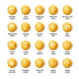Icone dorate delle monete di cryptocurrency di Bitcoin Symbo isolato vettore Immagine Stock Libera da Diritti
