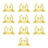 Icone dorate di anniversario Fotografia Stock Libera da Diritti