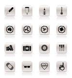 Icone e avvertimento-segni di tema medici semplici Fotografia Stock