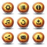 Icone e bottoni del segnale stradale per il gioco di Ui Immagini Stock