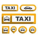 Icone e bottoni del taxi Fotografie Stock Libere da Diritti
