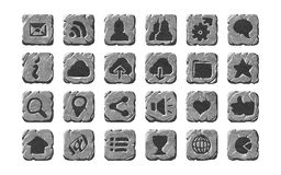 Icone e bottoni di pietra realistici Fotografia Stock