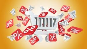Icone e carrello di vendite che galleggiano nella rappresentazione dell'aria 3D Fotografia Stock