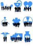 Icone e gente mediche illustrazione vettoriale