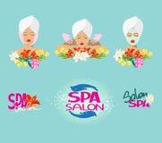 Icone e logo del salone di bellezza con i fiori e la testa della donna Fotografie Stock Libere da Diritti