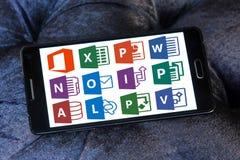 Icone e logos di Microsoft Office Fotografie Stock