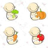 Icone e marchi degli alimenti per bambini Fotografia Stock