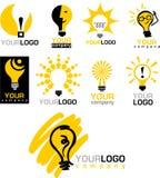Icone e marchi della lampadina Fotografia Stock
