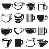 Icone e segni della tazza impostati Fotografia Stock