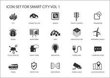 Icone e simboli astuti della città Immagine Stock Libera da Diritti